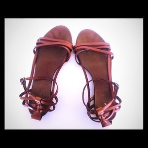 J Crew Brown Leather Sandals Flats 6.5
